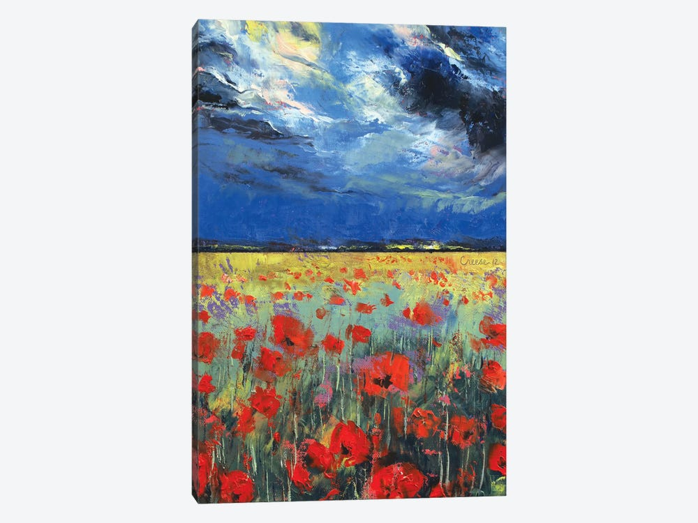 Poppies In Moonlight by Michael Creese 1-piece Canvas Wall Art