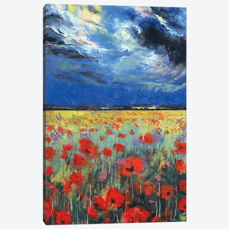 Poppies In Moonlight Canvas Print #MCR104} by Michael Creese Canvas Print
