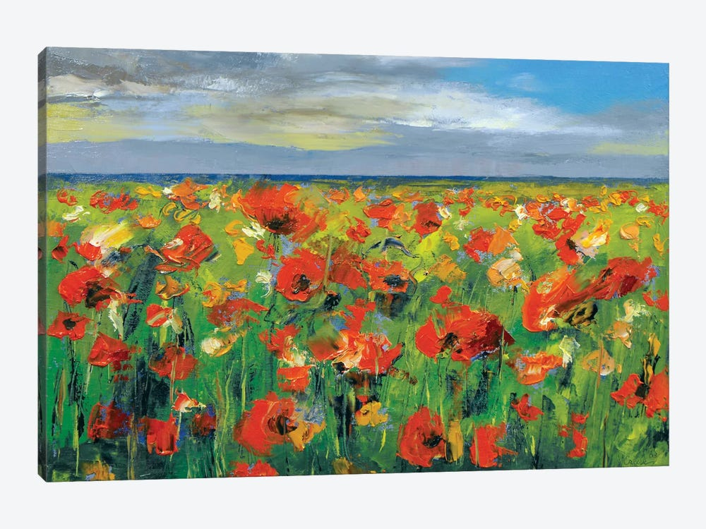 Poppy Field With Storm Clouds by Michael Creese 1-piece Canvas Artwork