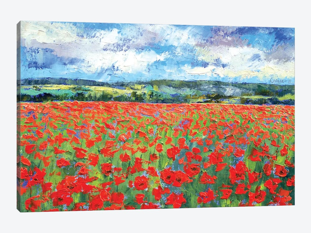 Poppy Painting by Michael Creese 1-piece Canvas Print
