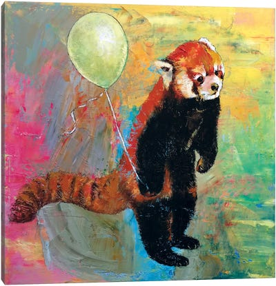 Red Panda Balloon Canvas Print #MCR114