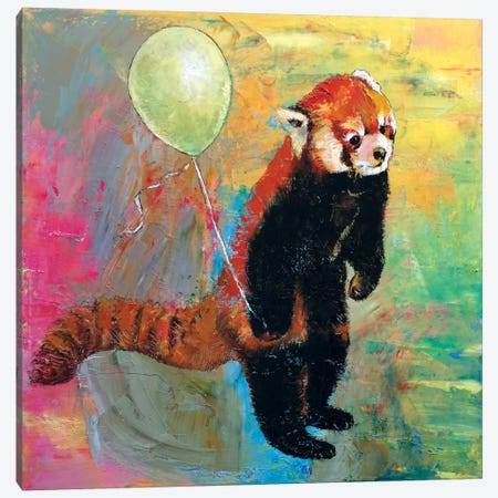 Red Panda Balloon 3-Piece Canvas #MCR114} by Michael Creese Canvas Wall Art
