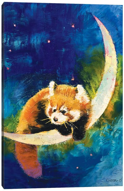 Red Panda Moon Canvas Art Print