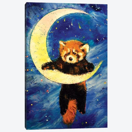 Red Panda Stars Canvas Print #MCR117} by Michael Creese Canvas Artwork