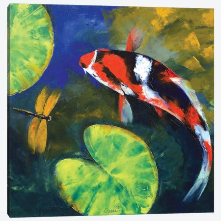 Showa Koi And Dragonfly Canvas Print #MCR128} by Michael Creese Canvas Art