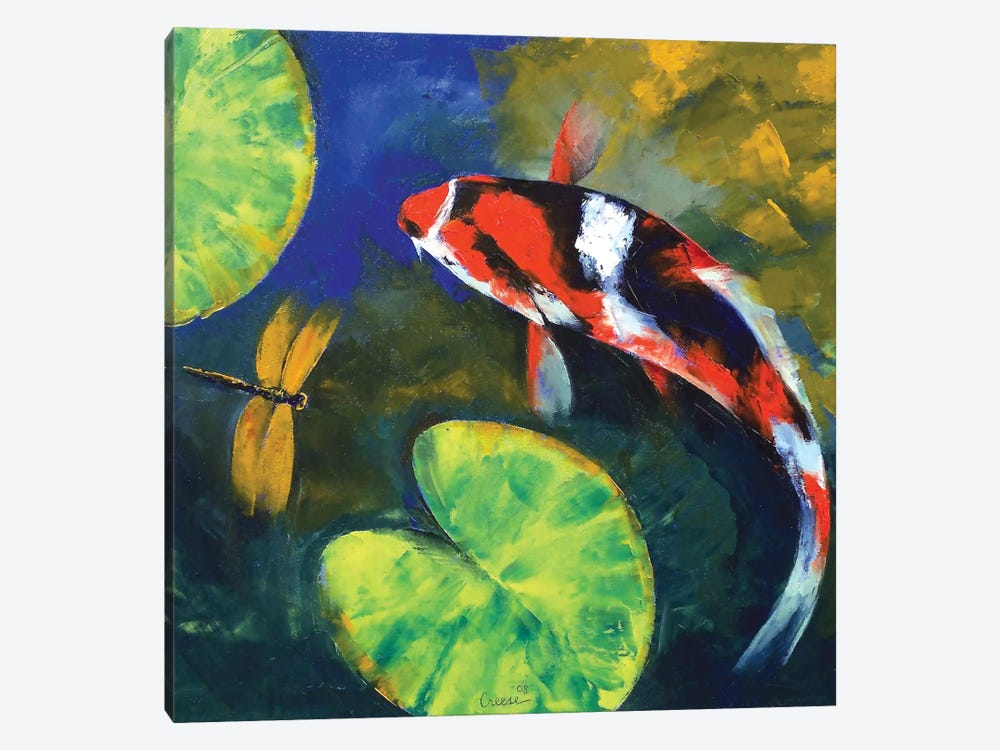 Showa koi and dragonfly canvas art print by michael creese for Koi carp wall art