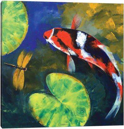 Showa Koi And Dragonfly Canvas Art Print