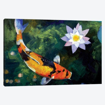 Showa Koi And Water Lily Canvas Print #MCR129} by Michael Creese Canvas Wall Art