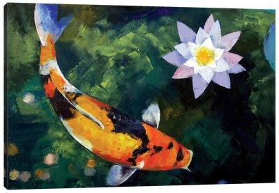 Showa Koi And Water Lily Canvas Art Print