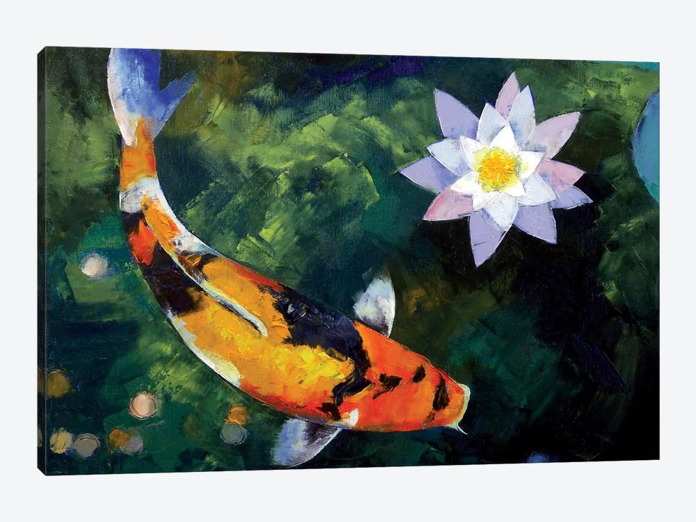 Showa Koi And Water Lily by Michael Creese 1-piece Canvas Print