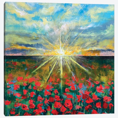 Starlight Poppies I Canvas Print #MCR133} by Michael Creese Canvas Art Print