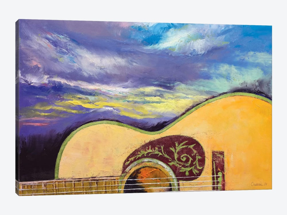 Sunset Guitar by Michael Creese 1-piece Canvas Wall Art