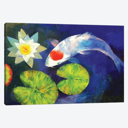 Tancho Koi And Water Lily Canvas Print #MCR137} by Michael Creese Canvas Art