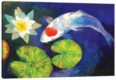 Tancho Koi And Water Lily Canvas Art Print