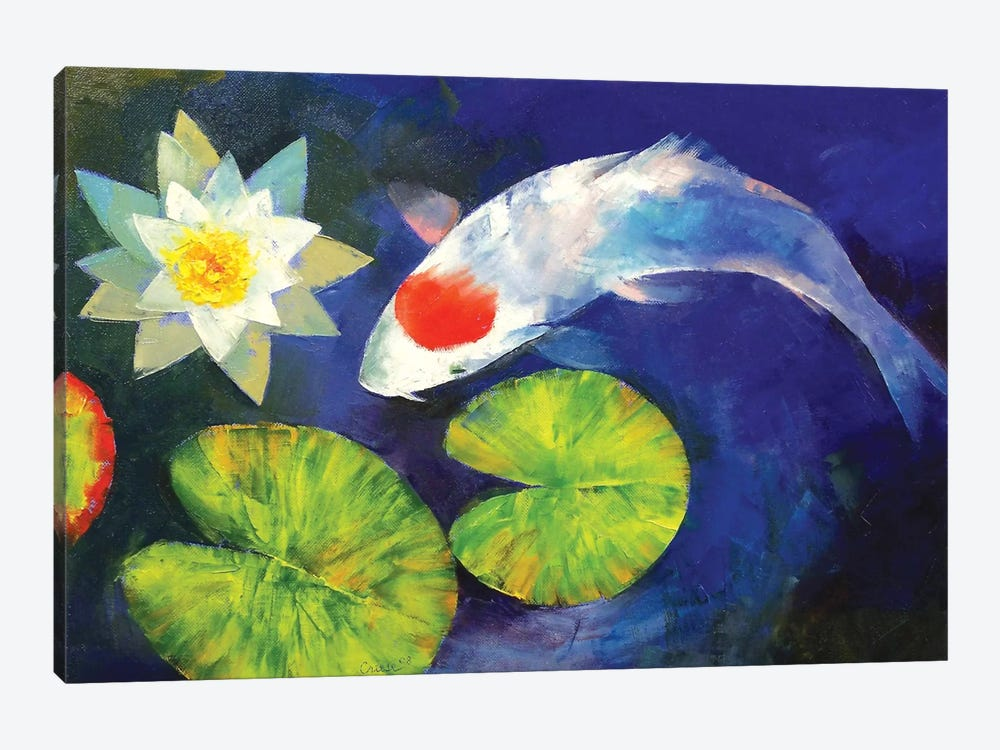 Tancho koi and water lily canvas art by michael creese for Koi prints canvas
