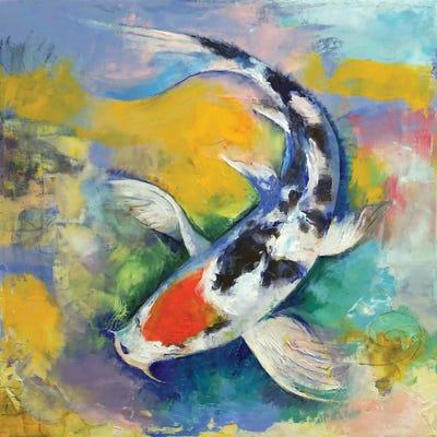 Tancho sanke koi canvas print by michael creese icanvas for Koi canvas print