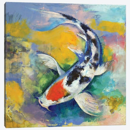 Tancho Sanke Koi Canvas Print #MCR138} by Michael Creese Art Print