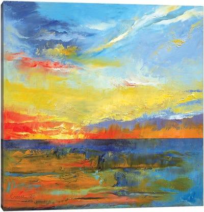 Turquoise Blue Sunset Canvas Art Print