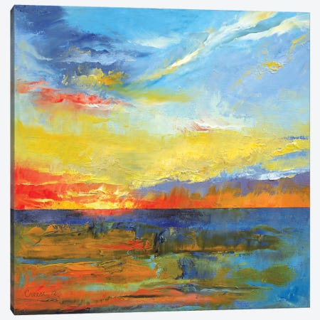 Turquoise Blue Sunset Canvas Print #MCR141} by Michael Creese Canvas Wall Art
