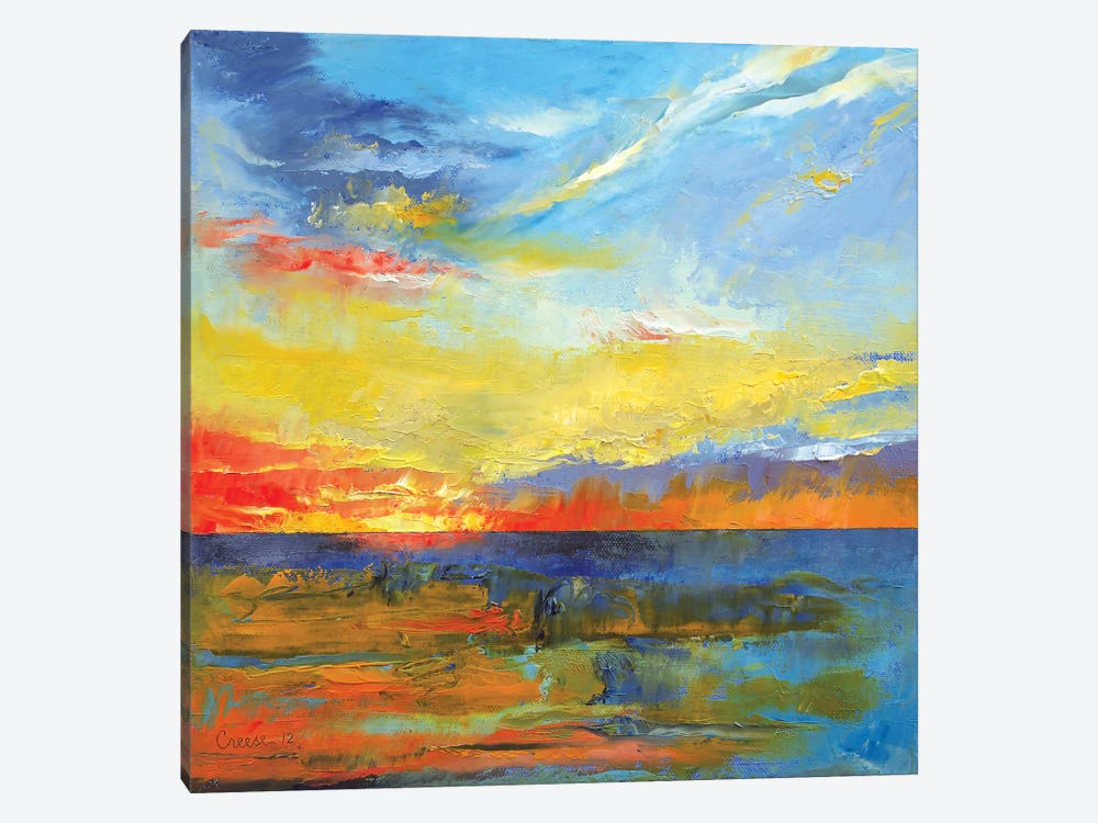 Turquoise Blue Sunset 1-piece Art Print