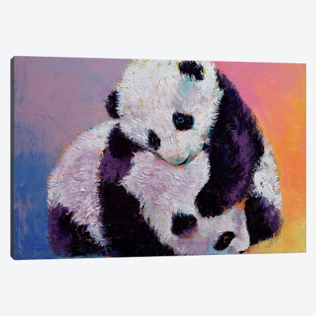 Baby Panda Rumble Canvas Print #MCR14} by Michael Creese Canvas Wall Art