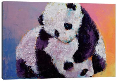 Baby Panda Rumble Canvas Art Print