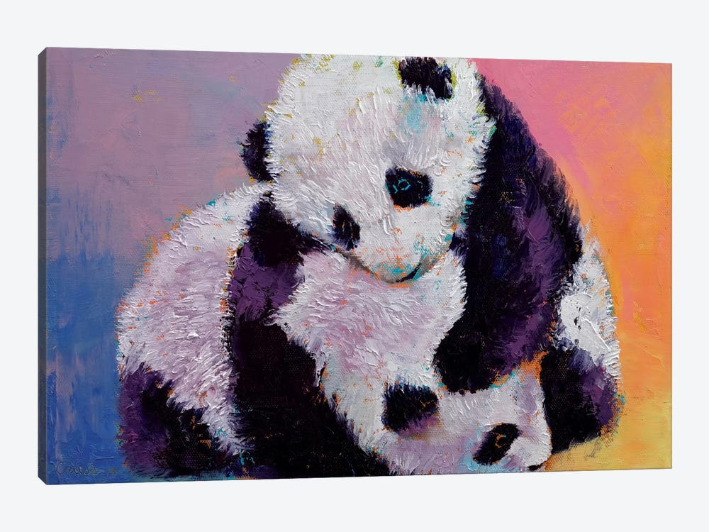 Baby Panda Rumble by Michael Creese 1-piece Canvas Wall Art