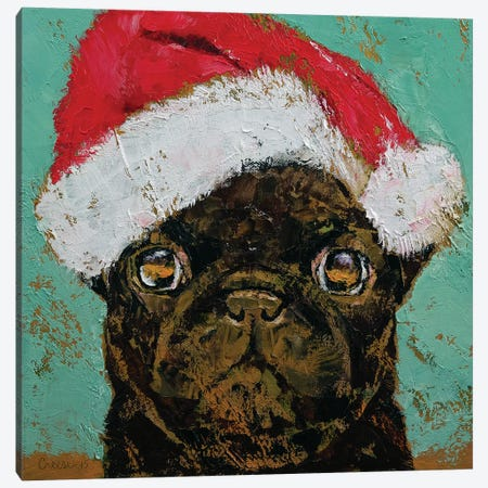 Santa Pug Canvas Print #MCR162} by Michael Creese Canvas Artwork