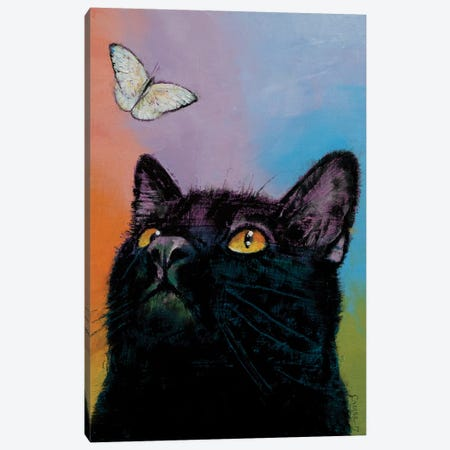 Black Cat Butterfly  3-Piece Canvas #MCR168} by Michael Creese Canvas Artwork