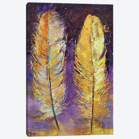 Gold Feathers  Canvas Print #MCR183} by Michael Creese Canvas Wall Art