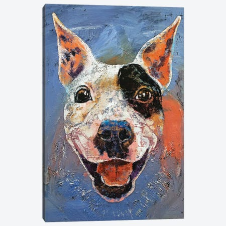 Happy Pitbull  Canvas Print #MCR184} by Michael Creese Canvas Print