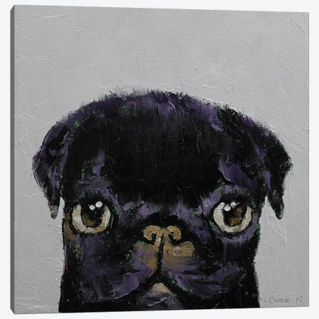 Black Pug Canvas Print #MCR18} by Michael Creese Art Print