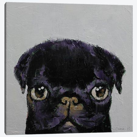 Black Pug Canvas Print #MCR18} by Michael Creese Art Print