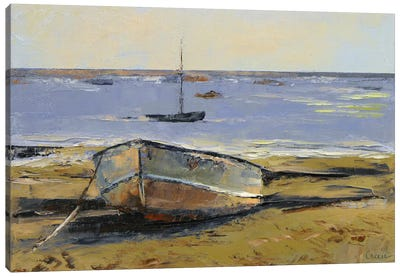 Boats In Provincetown Harbor Canvas Art Print