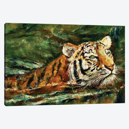 Swimming Tiger  Canvas Print #MCR211} by Michael Creese Canvas Artwork