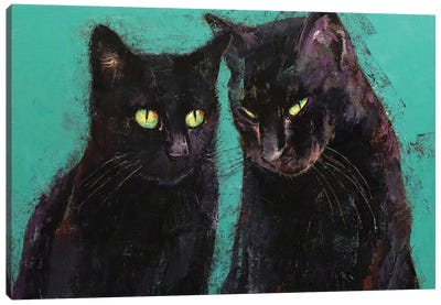 Two Black Cats  Canvas Art Print