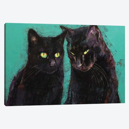 Two Black Cats  Canvas Print #MCR213} by Michael Creese Canvas Art