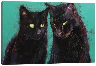 Two Black Cats  Canvas Art Print
