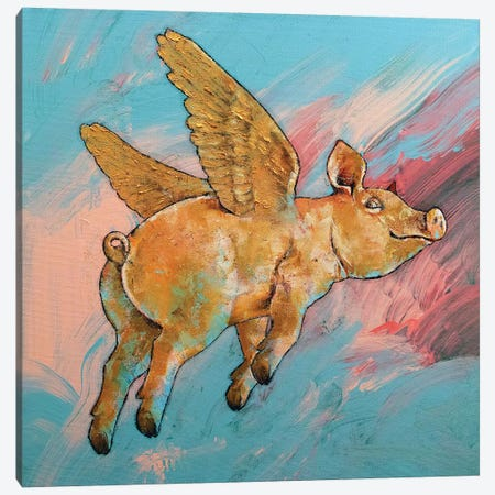 Flying Pig Canvas Print #MCR226} by Michael Creese Canvas Artwork