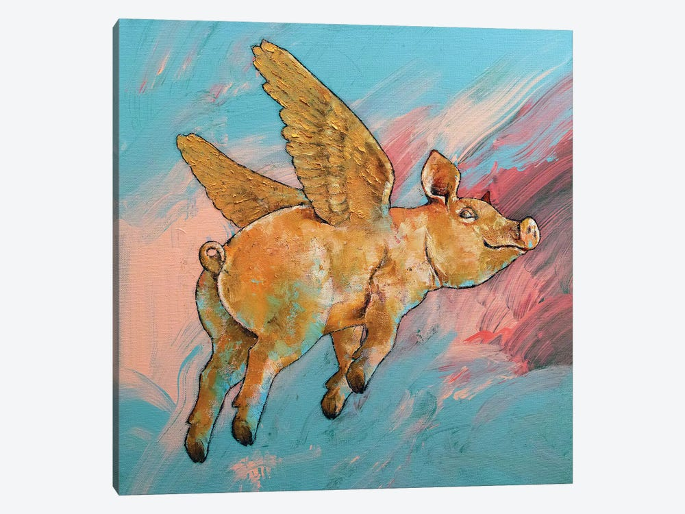Flying Pig by Michael Creese 1-piece Canvas Wall Art
