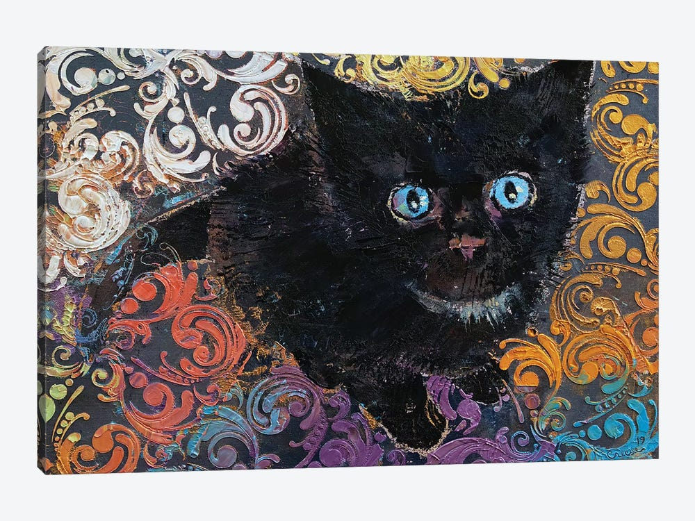 Little Black Kitten by Michael Creese 1-piece Art Print