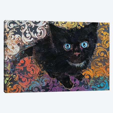 Little Black Kitten Canvas Print #MCR229} by Michael Creese Canvas Print