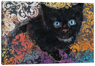 Little Black Kitten Canvas Art Print