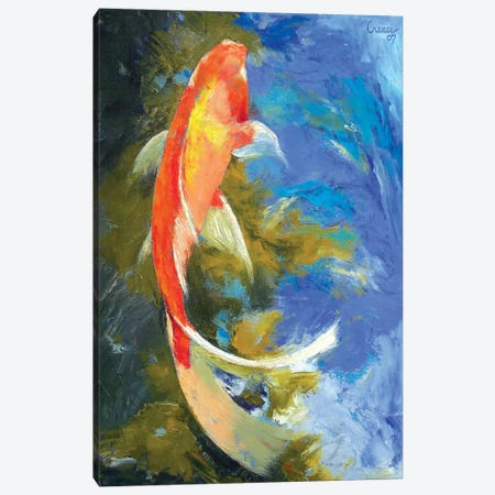 Butterfly Koi Painting Canvas Print #MCR22} by Michael Creese Canvas Art