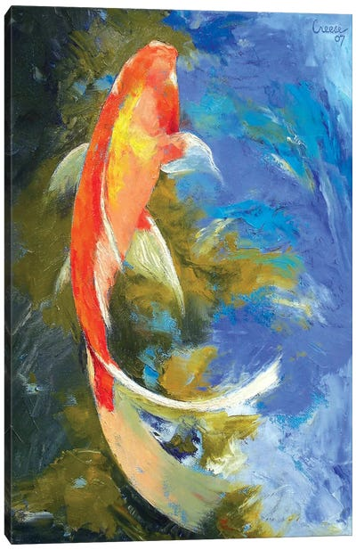 Butterfly Koi Painting Canvas Art Print