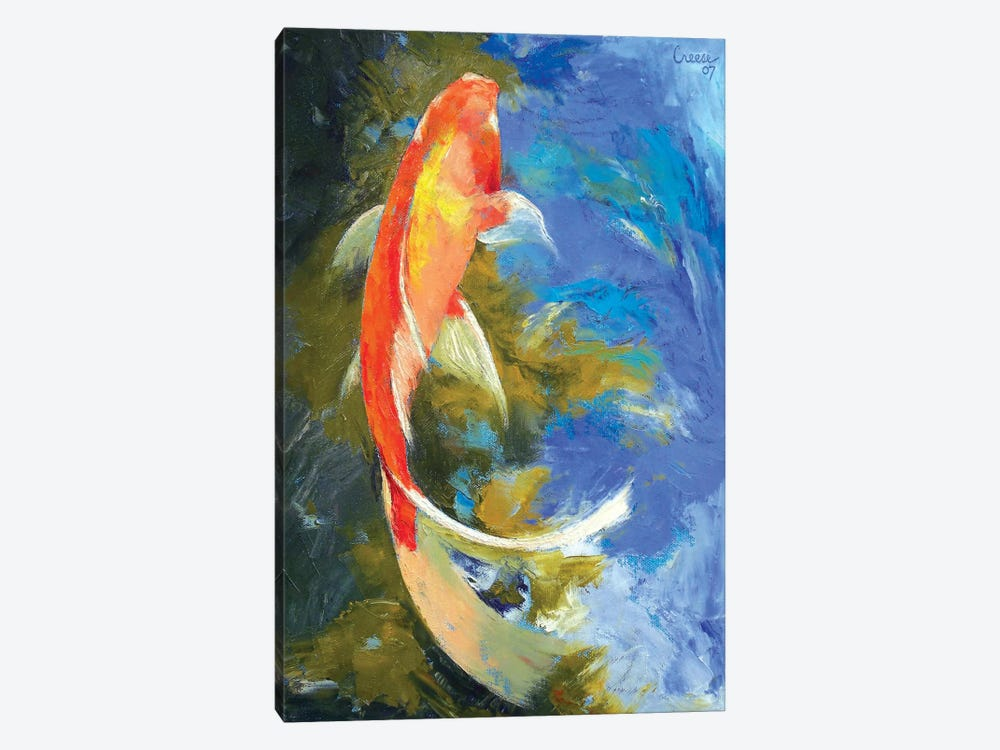 Butterfly Koi Painting by Michael Creese 1-piece Art Print