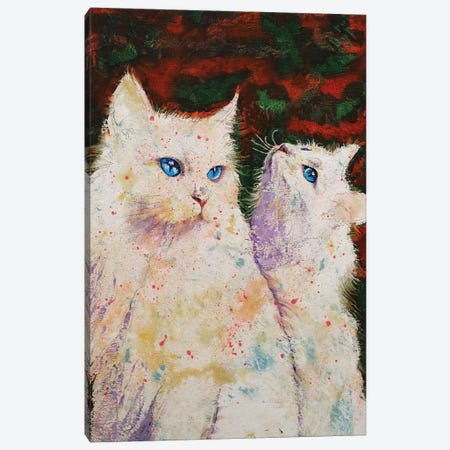 White Cats Canvas Print #MCR236} by Michael Creese Art Print