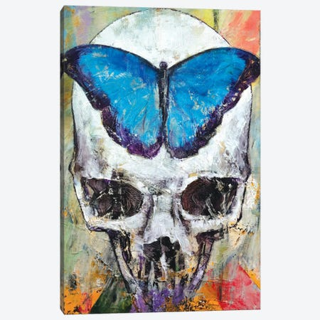 Butterfly Skull Canvas Print #MCR23} by Michael Creese Canvas Artwork