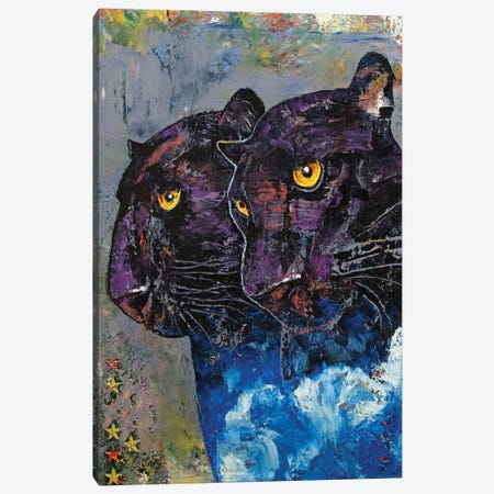 Black Panthers Canvas Print #MCR248} by Michael Creese Canvas Print