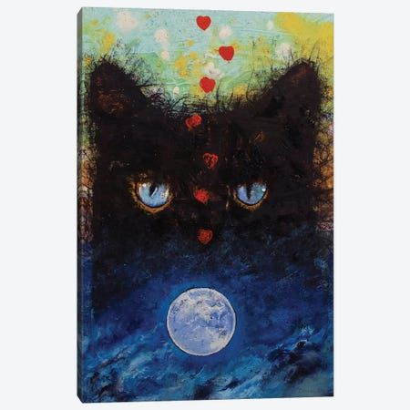Black Cat In Moonlight Canvas Print #MCR252} by Michael Creese Canvas Artwork
